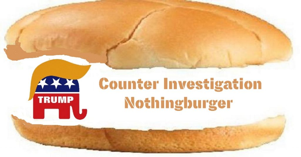 "meme of nothingburger titled ""Counter Investigation Nothingburger"" with stylized GOP Elephant Logo with Trump toupee"