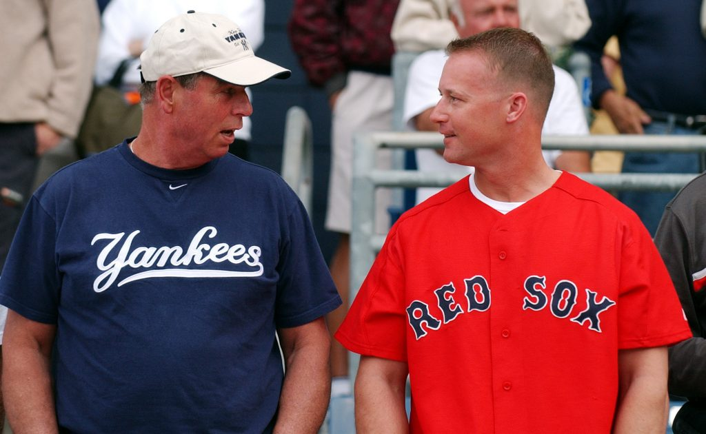 a New York Yankees fan and Boston Red Sox fan exchange friendly greetings.