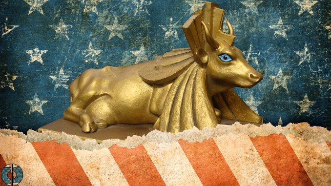 artist's conceptual image of the Stars and Stripes bordering a Golden Calf.