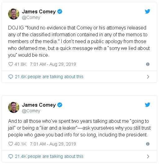Former FBI Director James Comey's tweets on the conclusion of the Justice Department's I.G. investigation of his actions in leaking internal memos to the New York Times.