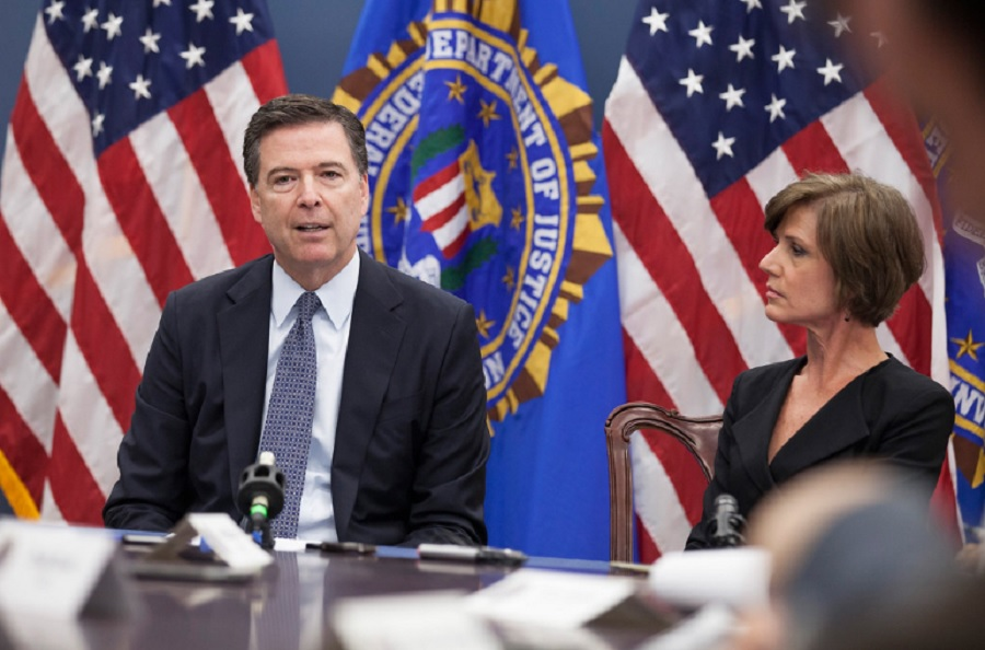 FBI public release photo of former FBI Director James Comey and Deputy Attorney General Sally Yates.