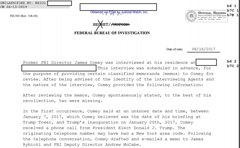 FBI memo from 6/16/17 describing a meeting between FBI officials and former Director James Comey to assemble and prepare materials for Comey's testimony that month before congressional committees.