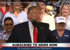 video still of Donald Trump at a rally in Panama City, Florida in May