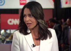 Video still image of Hawaiian Congresswoman, Army National Guard Major, combat veteran and 2020 Democratic presidential nominee in a CNN interview.