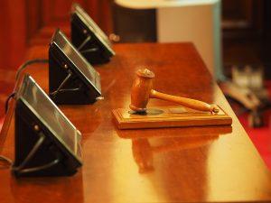 courtroom gavel and desk