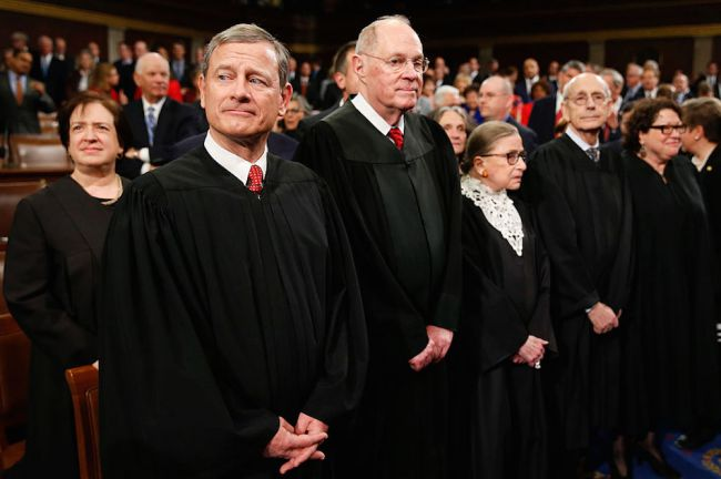 The Supreme Court justices wait to hear President Barack Obama's last State of the Union address on Capitol Hill January 12, 2016 in Washington, D.C.