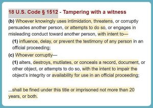 text of U.S. Code 18 sub-section 1512 defining the crime of tampering with a witness.