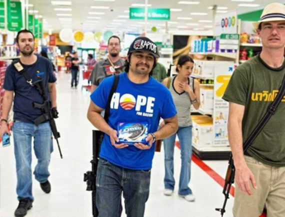 photo of three men walking through Target store open carrying semi-automatic rifles, before Target adopted a no open carry policy.