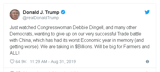 "Trump tweet claiming that his trade war with China is ""very successful"", while bashing a Congressional critic on his tariffs, House member Debbie Dingell."