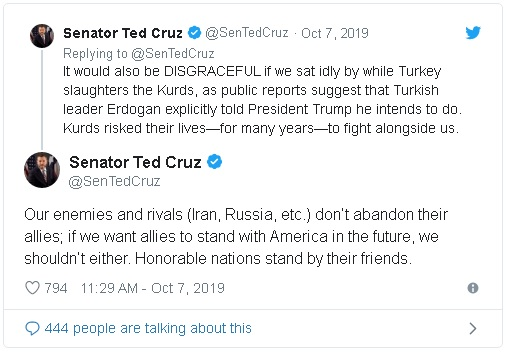 Texas Senator Ted Cruz tweets in opposition to President Trump's plans to leave Syrian Kurds exposed to attack from Turkish forces.