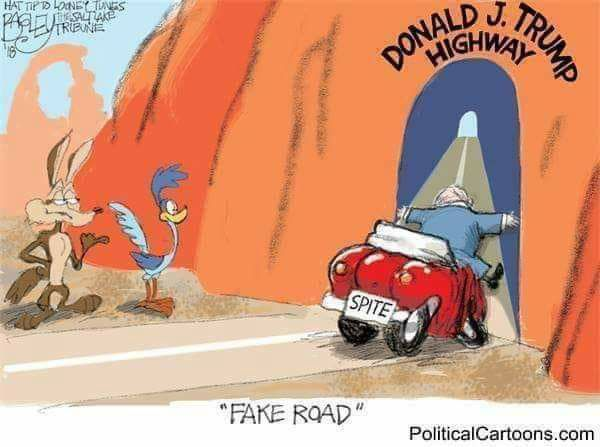 """A """"Looney Tunes"""" interpretation of a scene from the iconic """"Road Runner and Wile E. Coyote"""" cartoons, featuring Donald J. Trump National Highway"""