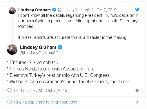 tweet from Senator Lindsey Graham in reaction to Trump decision to withdraw troops from Northern Syria that were acting as a buffer against ISIS and Turkey