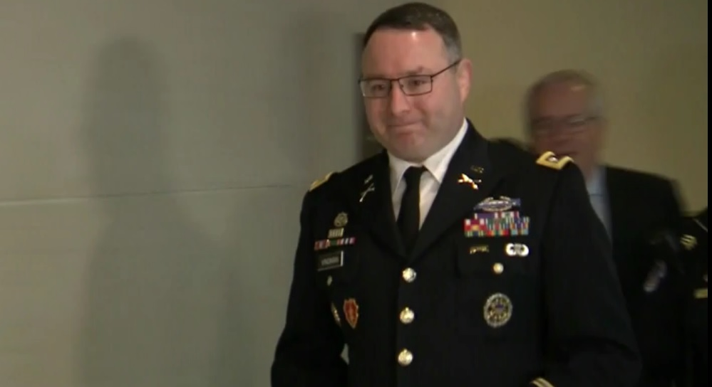 video still of Lt. Col. Alexander Vindman, heading to Congressional meeting room to testify to House Impeachment Inquiry committee.