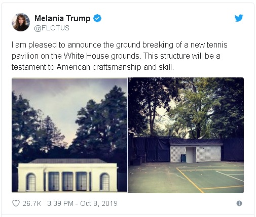 tweet from first lady Melania Trump on planned White House Tennis court and Pavilion