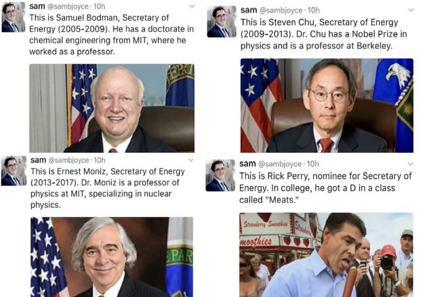 twitter posts showing the academic credentials of the four recent Secretaries of the Department of Energy, including Rick Perry