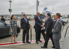 State Department photo of former Ambassador to the European Union, Gordon Sondland, greeting Secretary of State Mike Pompeo on airport tarmac