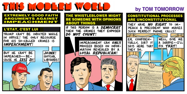 """Tom Tomorrow's """"This Modern World"""" comic strip on the GOP strategy to derail impeachment"""