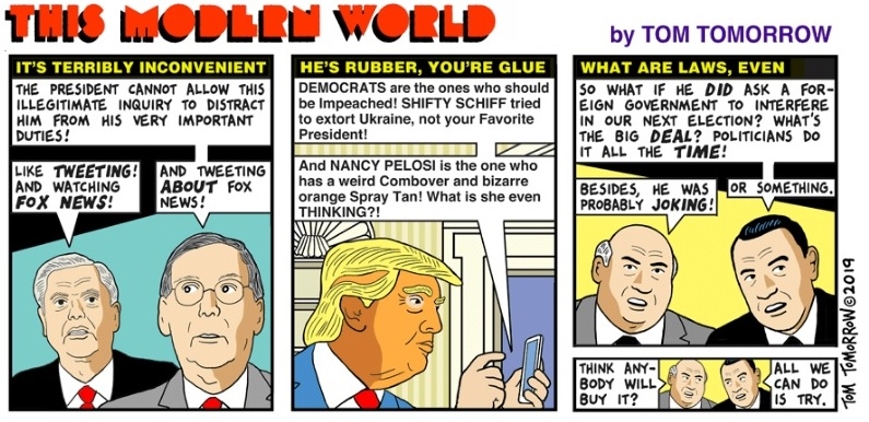 "Tom Tomorrow's comic strip, ""This Modern World"" illustrating GOP anti-impeachment strategies"
