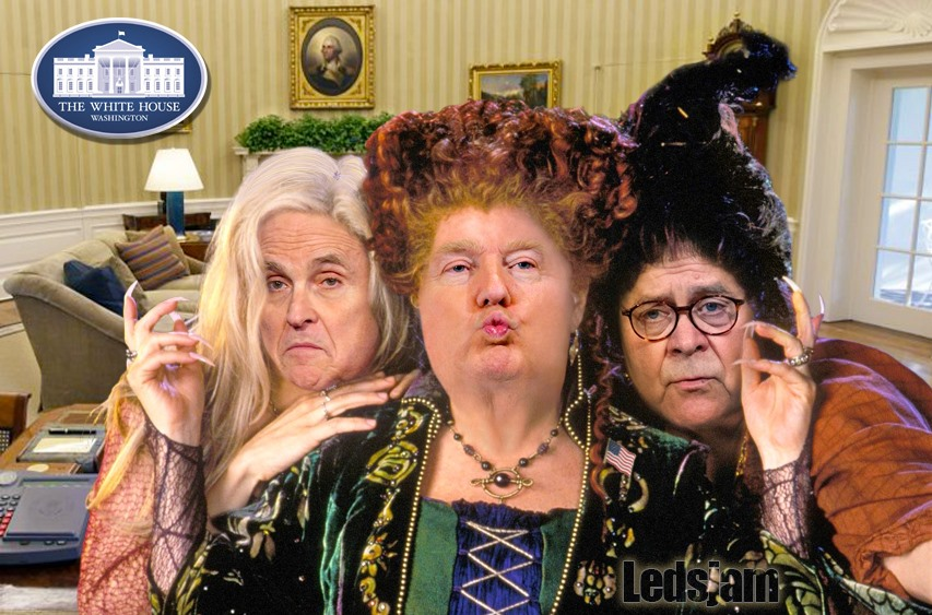 "stylized meme including Donald Trump, Rudy Giuliani and William Barr as characters in the comedy hit ""Hocus Pocus"""