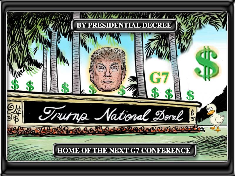 meme of a promotional brochure advertising Donald Trump's hosting of the next G-7 conference at the Trump National Doral Golf Resort