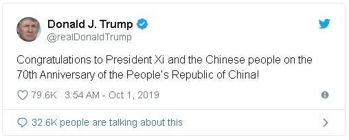 Trump tweet congratulating Chinese President Xi Jinpiang on the 70th anniversary of the People's Republic of China