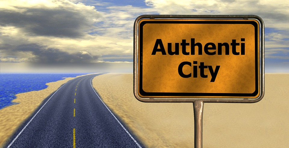 "graphic illustration of highway with sign by roadside announcing ""Authenti City"""