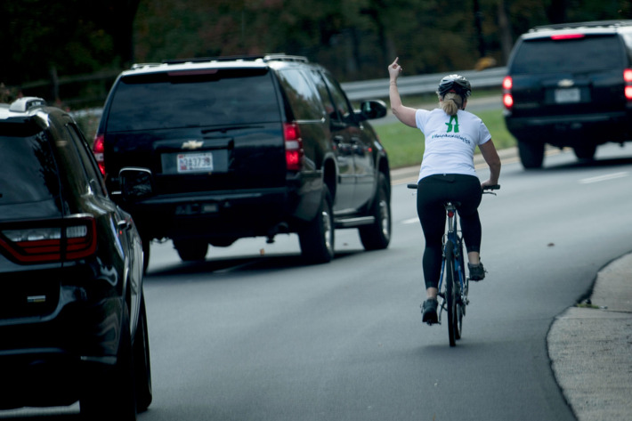 photo of Democrat Julie Briskman who lost her job after famously displaying her middle finger at President Trump's motorcade.