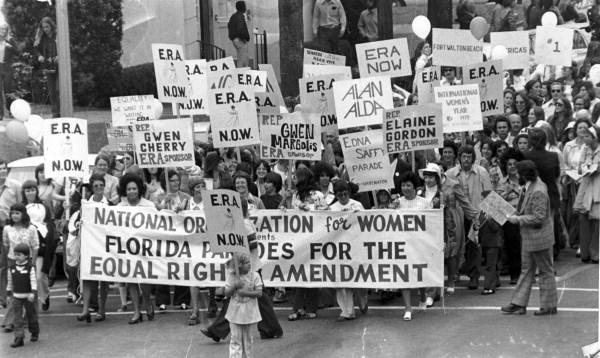 press photo from 1972 of women marching in support of ratification of the Equal Rights Amendment