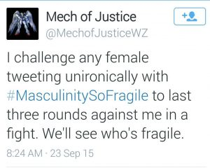 Twitter message from a man who wants to fight with a woman.