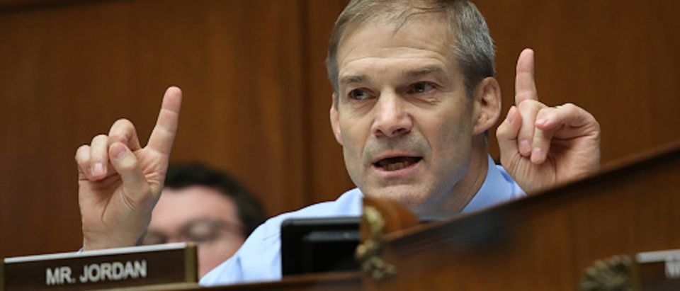 photo of Jim Jordan (R-OH), member of House Freedom Caucus and House Oversight Committee in a congressional hearing