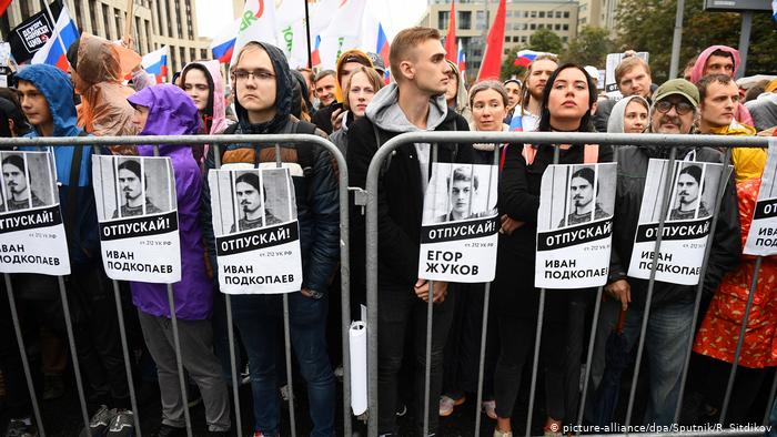 pro-Democracy protesters in Moscow, calling for open elections.