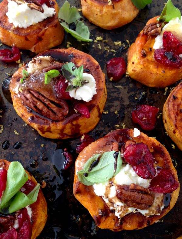 photo of Sweet Potato Rounds with Cranberries and Honey Balsamic glaze
