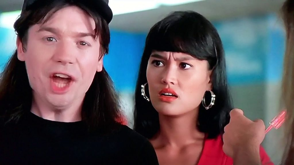 "still image of ""Wayne"" (Mike Myers) from iconic comedy ""Wayne's World"""