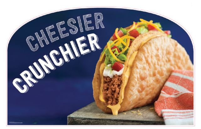 "promotional image of fast food restaurant Taco Bell's menu item - ""Cheesy Crunchy Chalupa"""