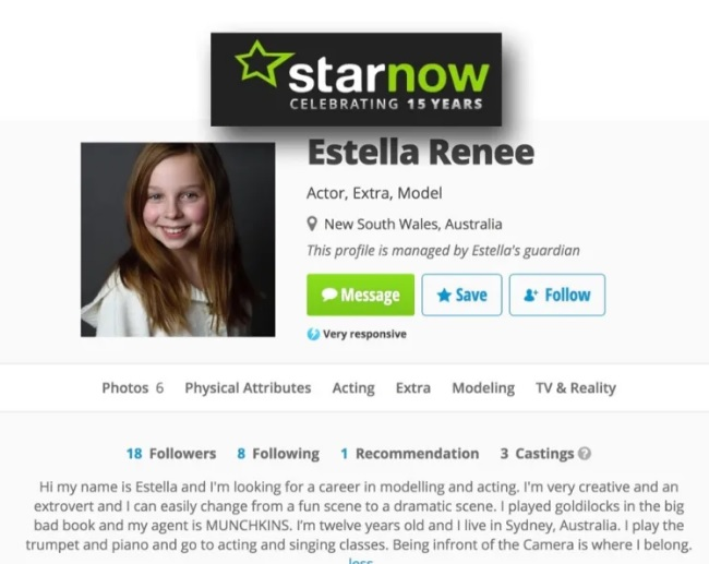 """promo ad for Australian child actress Estella Renee, who some conspiracy traffickers are claiming is a """"crisis actor"""" portraying """"fictional character"""" Greta Thunberg in public appearances."""