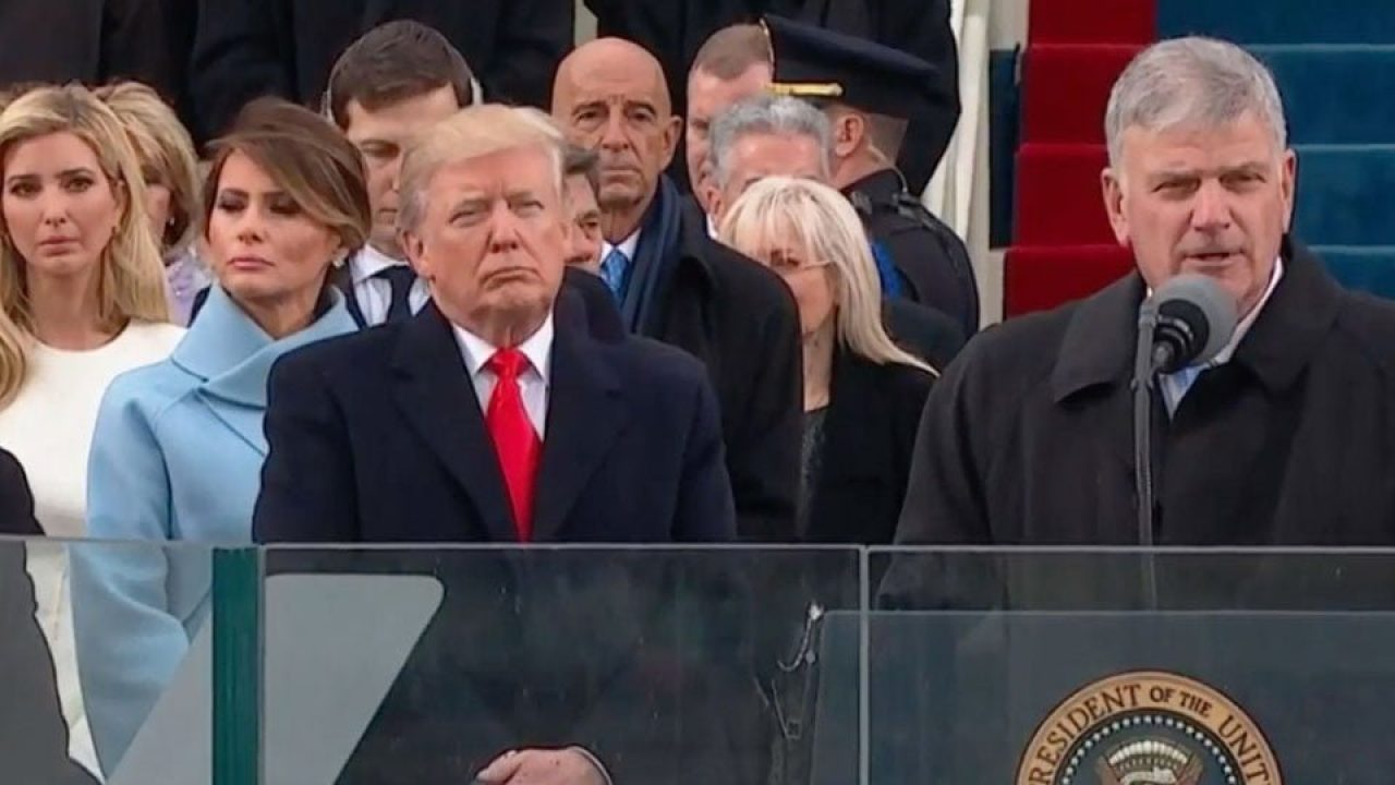 photo of Donald Trump and evangelical leader Franklin Graham at Trump's Inaugural ceremonies in 2017