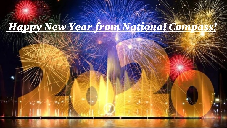 """""""2020"""" in lights and fireworks and the greeting, """"Happy New Year from National Compass"""""""