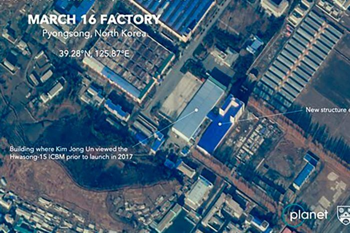 This new satellite image on a North Korean missile-related site shows the construction of a new structure this month.(AP: Planet Labs Inc, Middlebury Institute of International Studies)