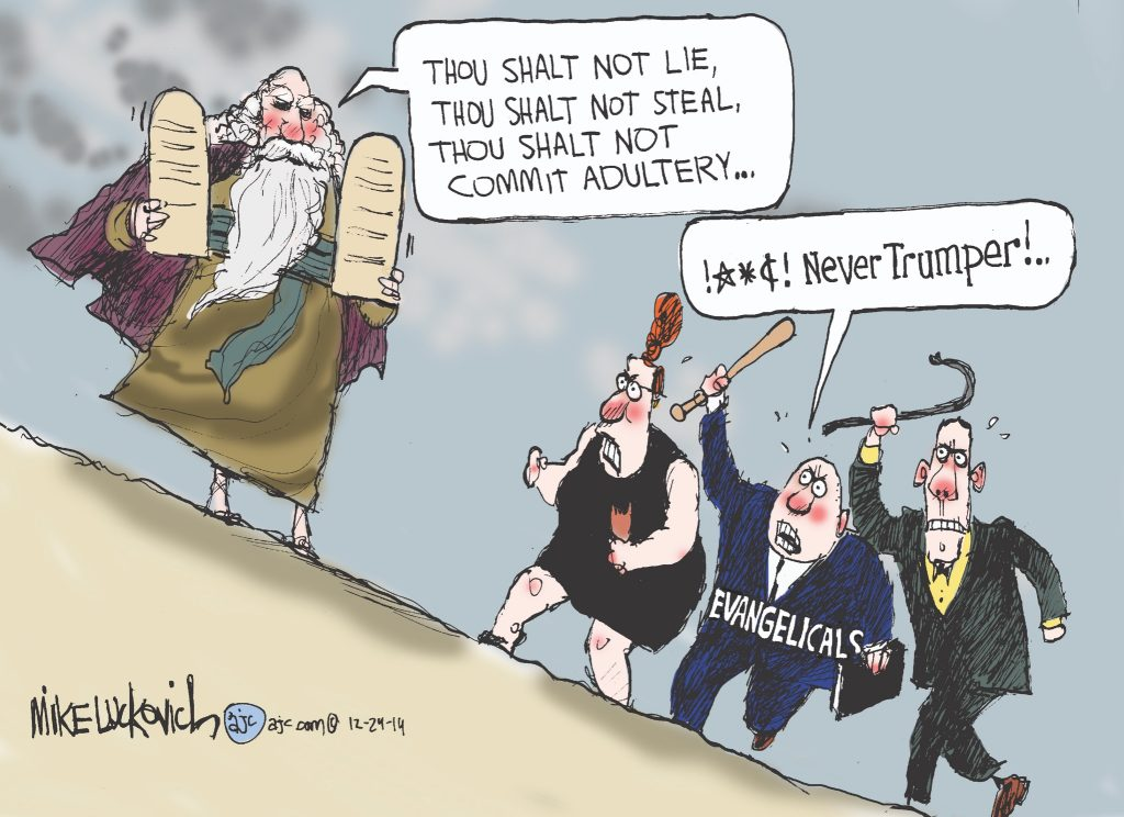 """political cartoon from Chicago Tribune's Mike Lukovitch showing Trump supporting evangelicals harassing Moses of the Old Testament, chiding him as a """"Never Trumper"""""""
