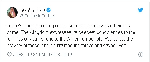 tweet from Saudi Foreign Minister Faisal bin Farhan, reacting to news of the deaths of 3 Navy Airmen at Pensacola Naval Air Station, shot by a Saudi national on the base