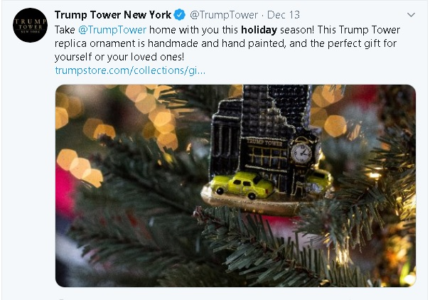 """tweet on Trump Tower twitter feed, using the term """"Holiday"""" in context with shopping and dining, and not """"Christmas"""" as he has excoriated other businesses and retailers for doing, while he claims to have brought back """"Merry Christmas"""""""