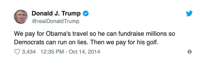 tweet from Donald Trump in 2014 criticizing then President Barack Obama about Obama's frequent golf outings