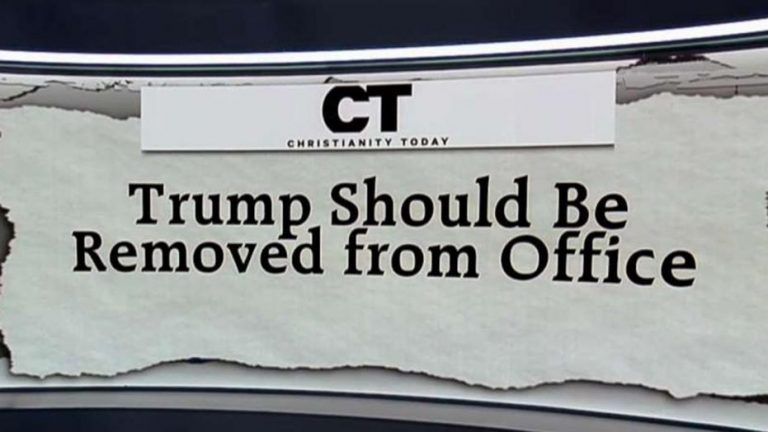 image of the heading of Christianity Today's editorial on Donald Trump and their call for him to be removed from office.