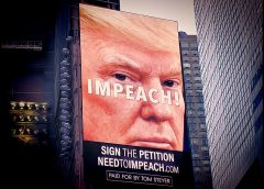 image of digital billboard promoting an online petition supporting impeaching