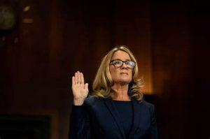 Kristine Blasey Ford being sworn in for testimony against Kavanaugh