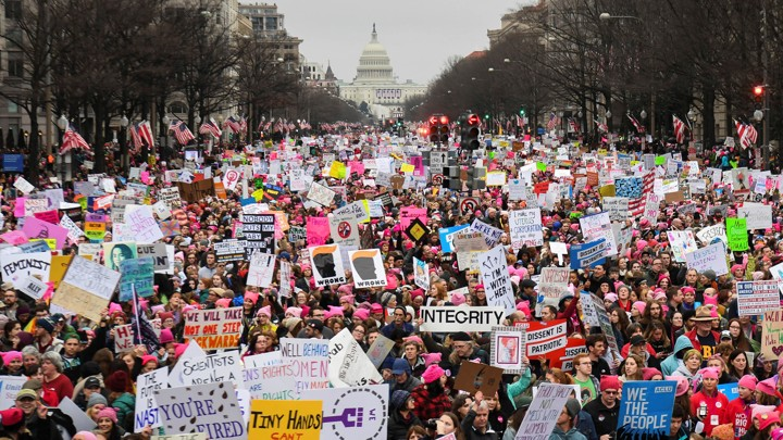 photo of Women's March in Washington, D.C. on January 21, 2017.