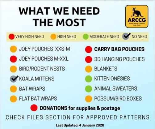 meme from ARCCG listing items needed for animal rescue in Australia