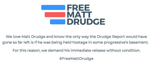 "screenshot from ""Free Matt Drudge"" website home page"