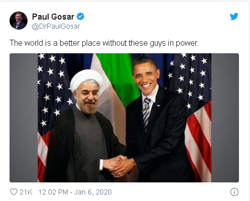 tweet from GOP Congressman Paul Gosar showing a faked photo purporting to show former President Obama shaking hands with Iran president Hassam Rouhani.