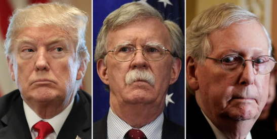 photo montage of Donald Trump, John Bolton and Mitch McConnell